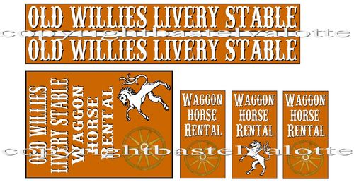 Westernhaus -  Old Willies Livery Stable  - Aufkleber Vinyl